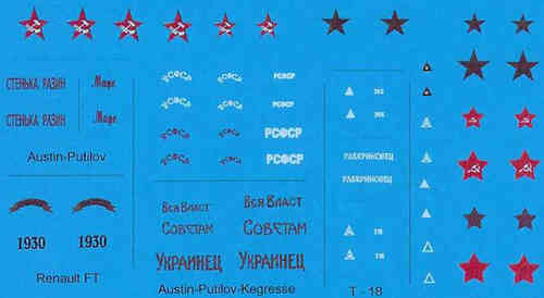 DECALS RED ARMY RUSSIAN CIVIL WAR 1919