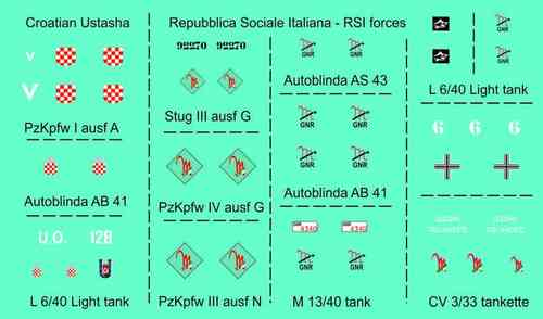 DECALS ITALIAN RSI AND CROATIAN ARMY